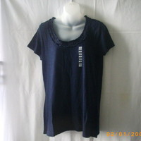 New Joe XL short-sleeved cotton navy top with ruffled neckline