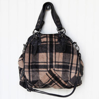 in love tan plaid handbag by Galian