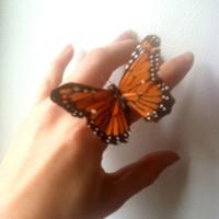 Mary Jane butterfly ring by RecycledFabric on Etsy