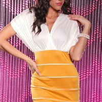 MUSTARD TWO TONE RUCHED SHOULDERS PIN STRIPED SEXY MINI DRESS @ Amiclubwear sexy dresses,sexy dress,prom dress,summer dress,spring dress,prom gowns,teens dresses,sexy party wear,women's cocktail dresses,ball dresses,sun dresses,trendy dresses,sweater dres