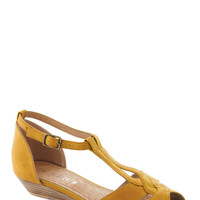 Stylish Sidekick Wedge in Yellow | Mod Retro Vintage Wedges | ModCloth.com