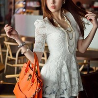 #Free Shipping#White Ladies Lace Tops S/M VF5064w from ViwaFashion