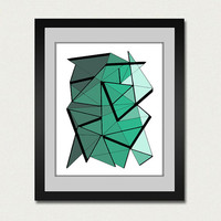 Abstract art print. Geometric print from original geometric painting with green, aqua green accents.