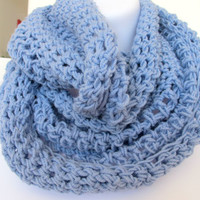 Blue crochet cowl, unisex soft infinity scarf, neck warmer, gift under 40