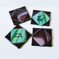 Green handmade fused glass drink coasters set by eyeseesage