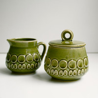 1970s Creamer Sugar Bowl Avocado Green by KitchenTableVintage