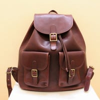 Vintage Reddish Brown Leather Backpack by BREE // by grassdoll