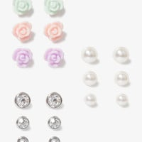 Pearlescent Rosette Stud Set | FOREVER 21 - 1017306104