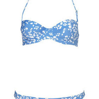 Blue Bird Print Push Up Bikini - Topshop USA