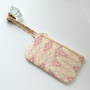 Patterned Wristlet-- Geometric Ivory and Pale Purple