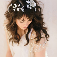 Cheyenne Bridal Comb, White Leaf Vines Hair Clip, Rhinestone Brooch Headband, Wedding Headpiece, Bridal Hair Piece, Ships in 1 Month