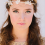 Sophia Bridal Headband Silk Leaves Rhinestones Pearls by LoBoheme