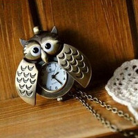 Antique Bronze Owl Pocket Watch Pendant Necklace at Online Jewelry Store Gofavor