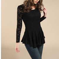 Sexy Long Sleeves Lace All Over Pleated Hem Blouse from Merlow Avenue