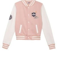 New Look Mobile | Pink and White Hudson and Rose Baseball Jacket