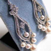 Karin Cubic Zirconia and Pearl Chandelier Earrings by OWDJewelry