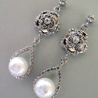 Earrings Weddings Bridal Jewelry White Pearl by nyjolejewellery