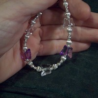 Purple &amp; Crystal Butterfly Bracelet