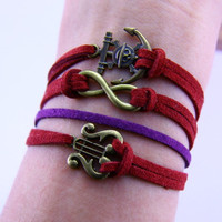 Anchor Musci ,infinity Braclet handmade bracelet for woman girls