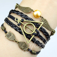 Deathly Hallow & Wings and Owls Charm Bracelet--Antique Bronze, Wax Cords and Leather Braided Bracelet-Personalized, Friendship gift