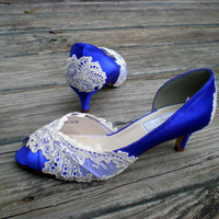 Purple Wedding Shoes low heel --Vintage Lace shoes -- Pick your color