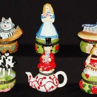 Alice In Wonderland 6 Different Hinged Trinket Boxes New