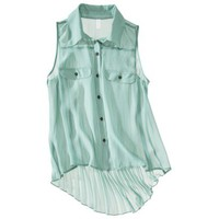 Xhilaration Juniors Sleeveless High Low Pleated Back Top - Assorted Colors