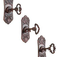 Cast Iron Key in Lock Hook Wall Hooks