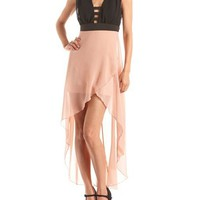 Strappy Chiffon Hi-Low Dress: Charlotte Russe