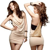 Amazon.com: LOCOMOLIFE Sexy Halter Cowl Neck Open Sequin Back Sleeveless Mini Dress Cocktail Party Clubwear FFD006BEI One Size Beige: Clothing