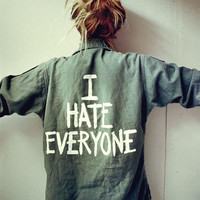 &#x27;I hate everyone&#x27; Vintage Army Shirt