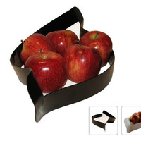 Fruit Bowl Metal Black/White Line with Red Apples by studiolana