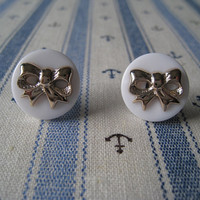 Button Bow Earrings Studs by Bitsofbling on Etsy