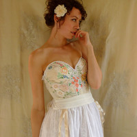 Meadow Bustier Wedding Gown... Size Medium... boho dress fairy free people whimsical eco friendly country shabby chic alternative