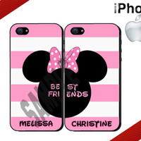 Best Friends Minnie Mouse iPhone Case - Pink and White Stripes - iPhone 5 Case or iPhone 4 Case - Personalized iPhone Case - Two Case Set