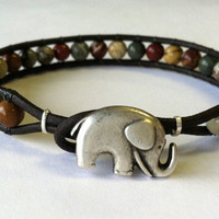 Lucky Elephant Picasso Jasper and Leather by Jennasjewelrydesign