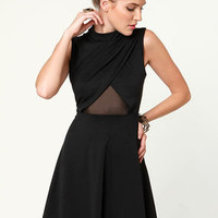 Noir-vel to Behold Cutout Black Dress
