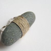 Ring with Sea Stone and Linen Twine ST007 by HappyEmotions on Etsy