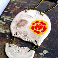 Handmade Ceramic Day of the Dead Skull Necklace