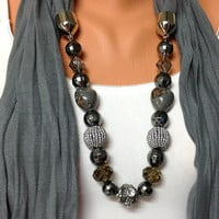 grey jewelry scarf - grey wrinkle scarf with adorable beads, high fashion unique scarf, gift or for you NEW SEASON
