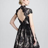 Jayna Lace Keyhole Dress, Black