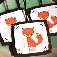 Fox Gift Tag, Handmade Hello Gift Sets, Mother&#x27;s Day Gift Packaging (Set of 6)