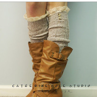 The Nordic ButtonLace boot sock oatmeal by CatherineColeStudio