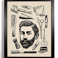 His, Vintage Bearded Man and toiletries Art Print 8 x 10 Buy 2 Get 1 FREE scissors brush razor hair
