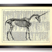 Unicorn Skeleton Repurposed Book Upcycled Dictionary Art Vintage Book Print Recycled Vintage Dictionary Page Buy 2 Get 1 FREE