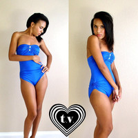 vtg 80s Bright Blue RUCHED strapless SWIMSUIT buttons S/M swim bathing suit