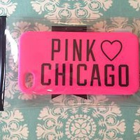 Victoria Secert Pink I love Chicago rubber iphone case for 4 or 4s