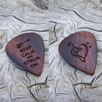 African Leadwood Guitar Pick - Handmade Laser Engraved Dual Designs - Premium Guitar Pick