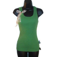 Spring Green Razor Back Bow Tank Top Womens Clothing Medium