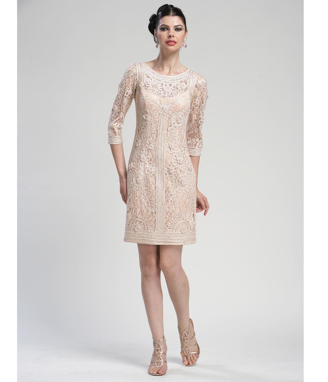 Blush Lace Long Sleeved Cocktail Dress from Unique Vintage